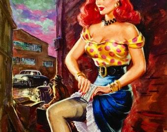 Sale 12X18 Giclee DAMES of Noir PULP Art pinup Detective FBI Gangster Illustration Art Deco action Film Noir Movies G-Man Pin-up