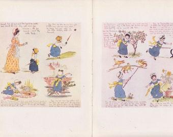 Vintage Kate Greenaway Book Plate Art Print - Centerfold Story