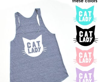 Cat Lady Heather Grey TriBlend Racerback Tank Top - Family Photos, Cat Obsesses, Meow, Kitty, Cat Mom, Gift for her