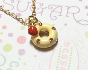 Kawaii Strawberry Lemon Donut Golden Necklace, Dessert Necklace, Cake Necklace, Sweet Necklace, Cute Necklace, Cute Gift, Christmas Gift