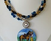 "Vintage Cowgirl and Horse Pendant Three Strand Necklace "" Slice of the Good Life Standing in Bluebonnets"""