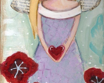 Angel painting, Blonde ,Folk Art painting ,Home Decor, Children's Art, Shabby,  Original painting