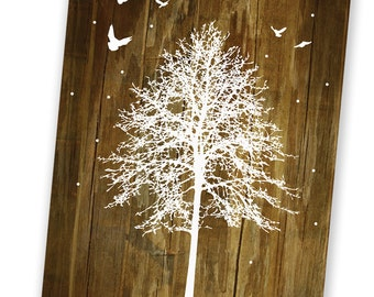 White Winter Tree and Birds - Reclaimed Wood Rustic Holiday Cards - Set of 8