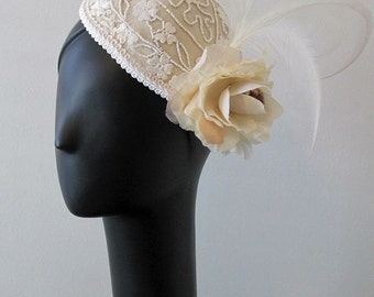 Hand-Beaded Floral Wedding Cap