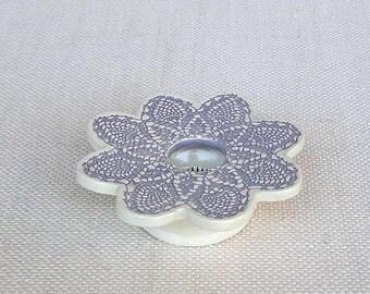Petite Ikebana Flower Vase . Handmade Ceramic Pottery . Doily Lace Ikebana Vase . lavender