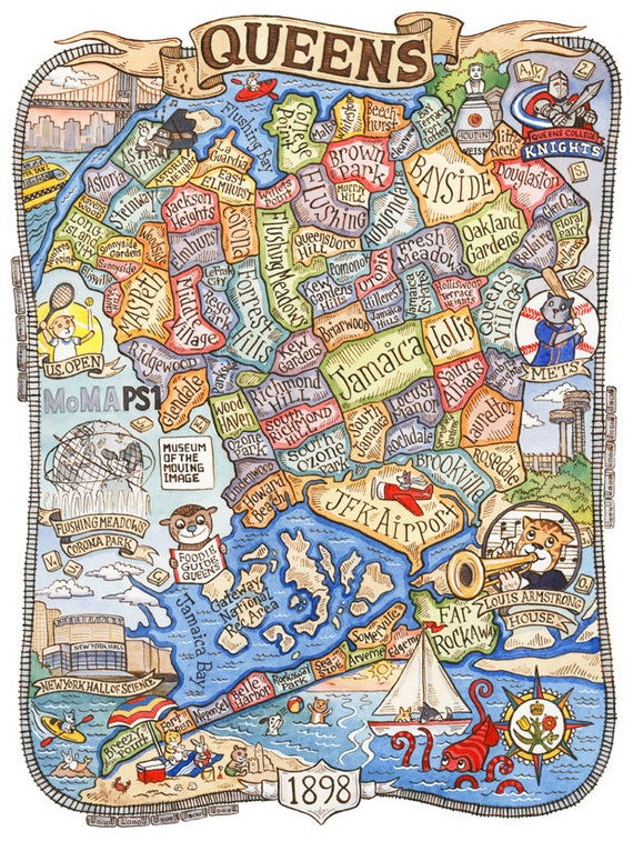 Queens new york map art print 8 x 10 by sepialepus on etsy for Art and craft store in brooklyn ny