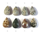 Natural Jasper Beads, Faceted Gemstone Briolettes, Large Teardrop Beads for Making Jewelry, 25mm x 16mm, You Pick the Stone (L-Ja2)