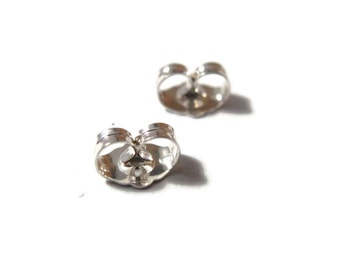 Silver Earring Backs, .925 Sterling Silver Ear Nuts, 6mm x 4.5mm, 2 Pieces, One Set of Silver Earring Backs for Jewelry (F 7041s)