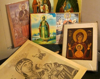 seven items, Russian text, Russia Religious collection , Russian ephemera, vintage imperfect charm