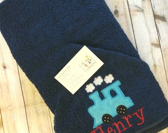 Train gifts etsy train hooded towel personalizedgift for boytrain toweltrain giftfirst negle Gallery
