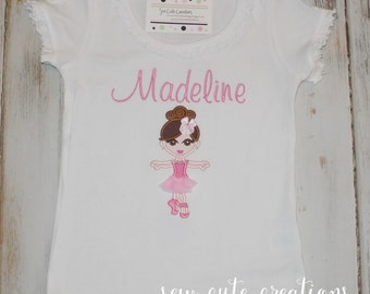Ballerina shirt, Girl Ballet shirt, Ballerina Outfit, Girl Dance shirt, ruffle shirt, Dance shirt, girl birthday shirt, sew cute creations