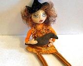 Primitive Halloween Witch Art Doll Decoration