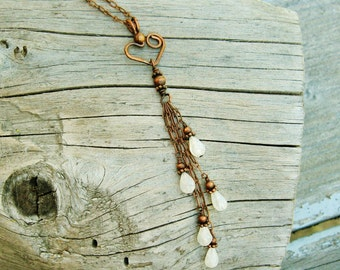 Moonstone necklace - Cascading Moonstones from a bear hug hear - antiqued copper wire wrapped necklace