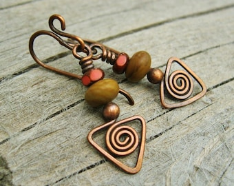 Hammered Copper dangles with jasper and Picasso Czech glass beads, tribal style earrings
