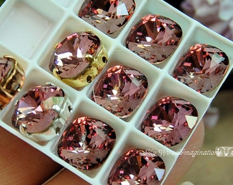 Antique Pink,Swarovski Crystal 10mm, 4470 Square With Prong Setting, Sew On Crystal, Crystal Setting, Rhinestone Setting, Jewelry Making