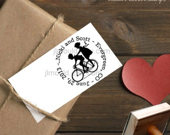 0033 NEW JLMould Children Kids riding on a Bicycle True Love Custom Personalized Rubber Stamp SaveTheDate Wedding Invitation