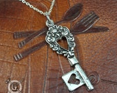 Heart Skeleton Key Pendant - Ornate Design Inspired by Antique Silverware - Doctorgus Handmade Jewelry Creations - Victorian Boho Goth Style