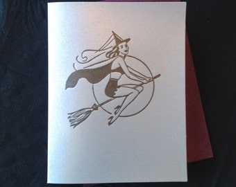 witch pinup halloween letterpress card blank recycled paper hand printed