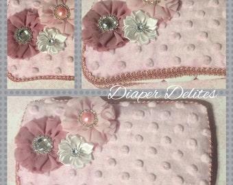 Pink Minky Dot Rhinestone Flower Baby Travel Wipe Case Girl Baby Shower