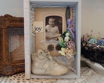 JOY - new baby shadowbox - assemblage art - NO399