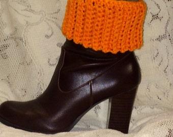 Women's Crocheted Boot Cuffs - Size Small - Orange