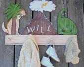 Kids Coat Rack DINOSAURS Peg Rack - Hand Painted Wood - Personalized Volcano
