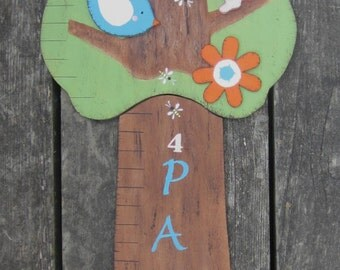 WOODLAND TREE Wood Growth Chart - Baby Girl Personalized - Original Hand Crafted Hand Painted Keepsake