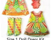 KIT Size 1: Doll Dress Clothing Kit Candy for Tiny Dolls