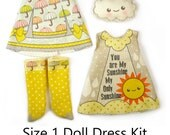 Amelia Thimble Dress KIT Size 1: Doll Dress Clothing My Sunshine for Tiny Dolls