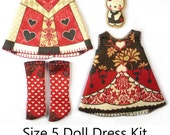 KIT Size 5: Doll Dress Clothing Kit Queen of Hearts pattern for dolls