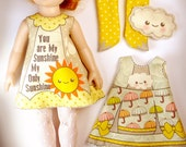 KIT Size 5: Doll Dress Clothing Kit My Sunshine pattern for dolls