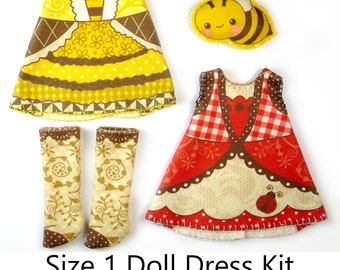 Amelia Thimble Dress KIT Size 1: Doll Dress Clothing Lady Bee for Tiny Dolls