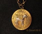 BOXER DOG ANGEL Locket Necklace. Boxer Dog Jewelry Pendant. Sympathy Gifts. Dog Lovers.Photo Locket Pendant.Vintage Style Memorial Keepsake