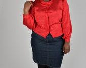 Vintage Size 20 Red Jacquard Blouse