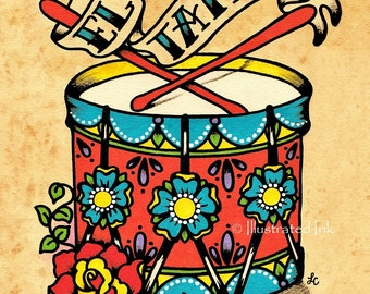 Old School Tattoo Drum Art EL TAMBOR Loteria Print 5 x 7, 8 x 10 or 11 x 14