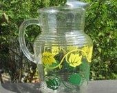 Vintage Hazel Atlas Pitcher - Green and Yellow Ivy - 1960s