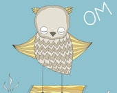 Meditating Owl, Nursery Art, Nursery Print, Nursery Wall Art, Owl Nursery Art, OM Art Print, Kid's Room Art, Baby Decor, Owl Art