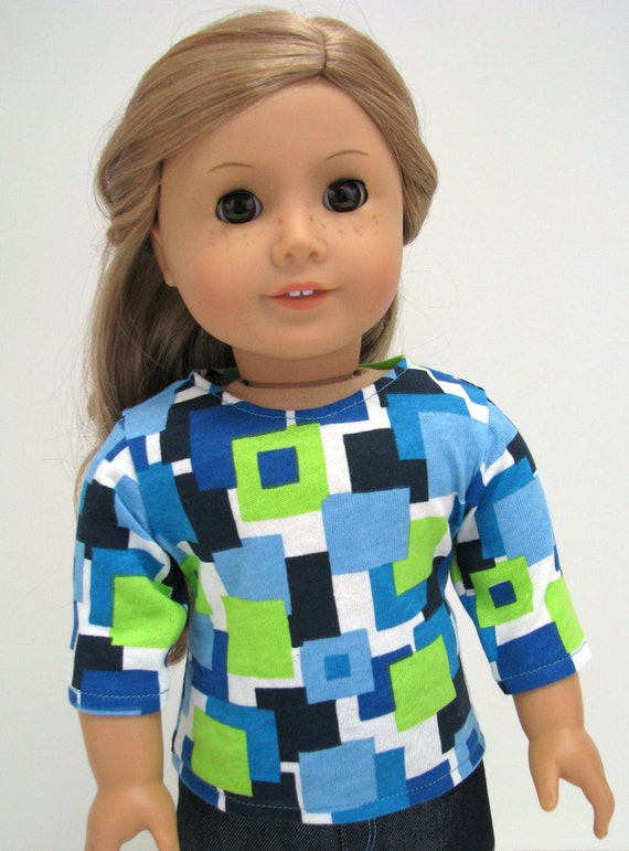 """18 Inch Doll Clothes - Doll Clothes - 18 Inch Doll Top - Blue, Green Shape Top - 18"""" Doll Clothes -  Girl Doll Top"""