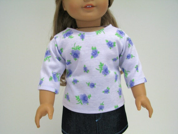 """Girl Doll Clothes - 18 Inch Doll Top - 18 Inch Doll Clothes - Lavender/Purple Top - 18"""" Doll Clothes - Girl Doll Top - American Handmade"""