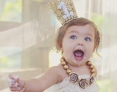 First Birthday Crown - Lace Crown - 1st Birthday Gold Floral Crown - Party Hat - Birthday Photo Prop - Cake Smash