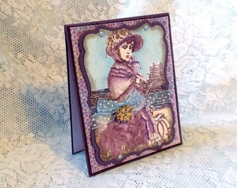 Victorian Lady at the Seaside Card, Dark Purple, Blue, Tan, Brown, Hand colored, Vintage style
