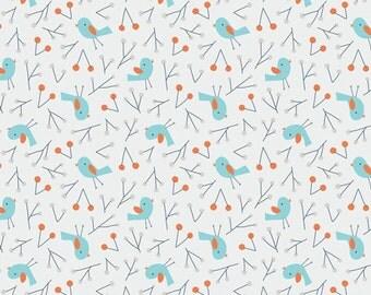 Bird Song Blue - Sweet Autumn Day - Little Cube - Cloud9 Fabrics - Organic Cotton