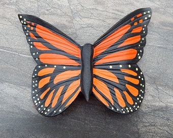 Monarch Butterfly Leather Barrette with Quality French Clip