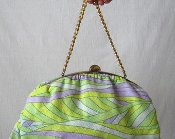 Clutch Purse 60s Psychedelic Neon Fabric Bag Vintage Bag 1960s