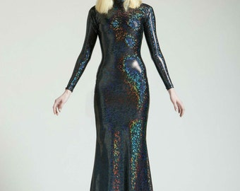 Black Holographic Long Sleeved Swan Necked Maxi Gown with Train