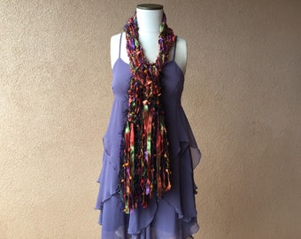 SCARVES Fashion Accessories Scarf Orange, Purple, Green, Black Long Scarf Jewel Tone Scarf