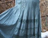 Rayon and crochet sequins India hippie dress cap sleeve gathered front blue medium
