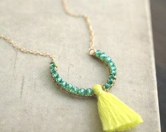 Cadiz Teal and Yellow Tassel Necklace with 14k Gold Filled Chain, Yellow Tassel Necklace