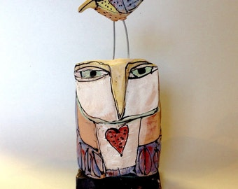 """Owl art, handmade one of a kind ceramic owl art,""""Owl Person and Dancing Bird.  Love is All, 6-3/4"""" tall"""