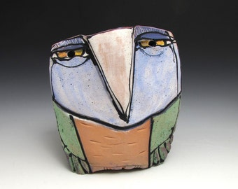 "Owl art, ceramic owl sculpture, whimsical, colorful owl figurine, 3-3/4"" tall,""Owl Person Dreaming Green Leaves in the Sunlight"""